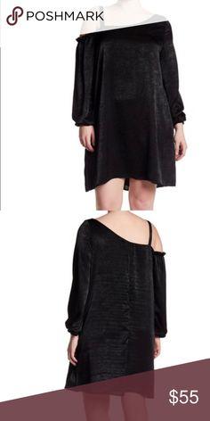 50e59e93ba8e Woven one-shoulder Black dress Plus Size Scoop neck Approx. 36.5 Made in  U.S.A.
