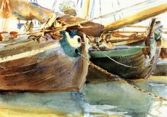 The Athenaeum - Boats, Venice (John Singer Sargent - ) 1903 watercolor / 35.56 x 50.17 / Private collection