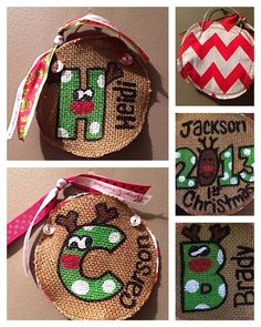 Personalized burlap Christmas ornament initial & name or First Christmas