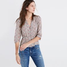Madewell Silk Shadowpetal Top