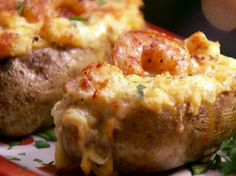 Twice-Baked Shrimp Stuffed Potatoes from FoodNetwork.com--Paula Deen--would have to substitute chicken for shrimp for the grand babies
