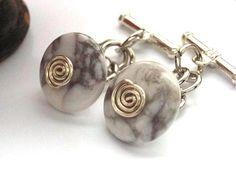 Howlite bead silver chain cufflinks