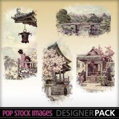 Japanese Garden Blendable Set 4. Vintage Design. $3.00