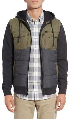 Olive and denim blue colorblock, mens puffer jacket