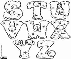 Winter alphabet, letters S to Z coloring page