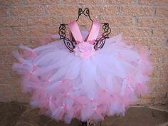 Petti Tutu Dress, Pink On White, Empire Waist, for Babies 3-24 Months | ElsaSieron - Clothing on ArtFire