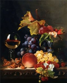 Still Life With A Wine Goblet And Silver Tazza, Grapes, Berries, Plums And Hazlenuts - Edward Ladell Hanging Paintings, Paintings I Love, Fruit Crafts, Still Life Fruit, Fruit Painting, Wine Art, Tile Murals, Painting Still Life, Caravaggio