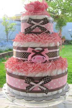 shabby chic baby cakes | Pink and Brown Shabby Chic Bouncing Baby Diaper Cake (Shower Gift ...