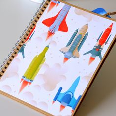 """Bílý Zápisník - deník """"LET DO VESMÍRU"""", A5 / od Tvoření s radostí   Fler.cz Origami, Notebook, Let It Be, Origami Paper, The Notebook, Origami Art, Exercise Book, Notebooks"""