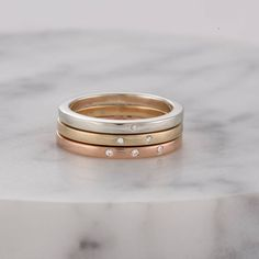 Diamond stacker ring, sterling silver, 9ct rose & yellow gold plated