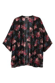 H&M+ Kimono - Zwart/bloemen - DAMES | H&M NL