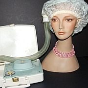 1950s General Electric ~ Stylette Light Blue Hair Dryer/Case