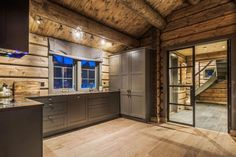 I absolutely appreciate this color for this Cabin Interior Design, Chalet Interior, House Design, Timber Cabin, Cottage Exterior, Cabin Interiors, Home Alone, Wooden House, Log Homes