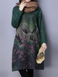 Women Vintage Floral Printed Long Sleeve Loose Autumn Winter Dresses