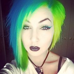 Neon blue and green multicolored hair
