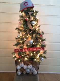 Baseball Christmas tree, every kid should have their own tree...