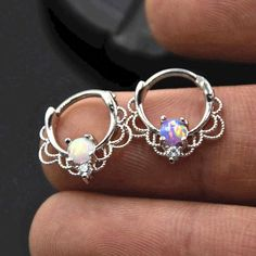 Opal Lacy Silver Clicker for Daith, Septum Ring Piercing Jewelry - Linda Oreja . Peridot Earrings, Prom Earrings, Tiny Stud Earrings, Triangle Earrings, Star Earrings, Sterling Silver Earrings Studs, Bridal Earrings, Crystal Earrings, Crystal Jewelry