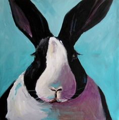 black and white rabbit painting - Google Search