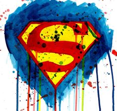 Superman watercolor print by mmmmmmPaintings on Etsy Background For Photography, Art Photography, Superman Pictures, Superman Tattoos, Superman Symbol, Amai, Man Of Steel, Watercolor Print