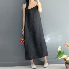 Summer Sweet Women Loose Straight Linen Black Vest Dress