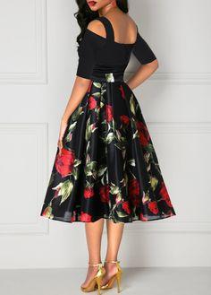 Rose Print Tie Waist Half Sleeve Cold Shoulder Dress in 2020 Grad Dresses, Sexy Dresses, Beautiful Dresses, Nice Dresses, Fashion Dresses, High Tea Dress, Dress Up, Prom Dress, Half Sleeve Dresses