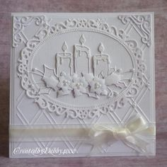 handmade Christmas card: Glowing Candles by Debby4000 ... white on white ... die cuts and embossing folder texture ... lacy elegance with lots of dimension ... fab card!!