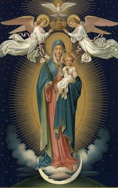 The crowing of our Lady as Queen of heaven and earth Divine Mother, Blessed Mother Mary, Blessed Virgin Mary, Religious Pictures, Religious Icons, Religious Art, Hail Holy Queen, La Madone, Queen Of Heaven