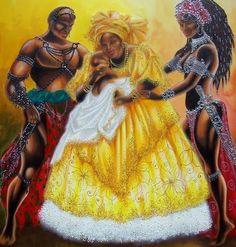 Ogun/Ogum, Orisha of iron and war, with his lovers Oshun/Oxum and Oyá/Iansã. Black Is Beautiful, Black Love Art, Beautiful Artwork, Beautiful Flowers, African American Art, African Art, Yoruba Orishas, Yoruba Religion, Ifa Religion