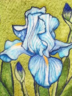 CUSTOM ORDER ONLY    Needle Felted Wool Painting - Blue Iris - Evening Iris - Flowers In Bloom Series  I have been busy planting and working in my garden. The flowers are so gorgeous that I wanted to capture their beauty through my felting. Created totally out of Shetland and Merino wool.    Unframed.    Dimensions: 12 x 12