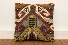 Hand woven Kilim pillow cover 12 x 12 Vintage by kilimwarehouse, $18.00