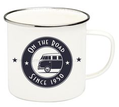 This VW Camper enamel mug is named On the Road and depicts a Volkswagen Camper and inscription On the Road Since The official VW Collection of enameled mugs by Brisa features the iconic Volkswagen Camper. Volkswagen, Vw T1, T1 Bus, Campervan Gifts, Library Cafe, The Road, Deco Retro, Retro Vintage, Steel Rims