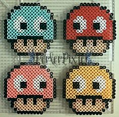 Pac-Man Ghost mushrooms perler beads by PerlerPixie Perler Bead Templates, Diy Perler Beads, Pearler Bead Patterns, Perler Patterns, Art Hama, Perler Bead Mario, Peler Beads, Iron Beads, Melting Beads