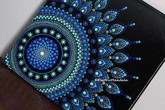 10 x 10 Original Blue Dot Mandala Acrylic Art Painting on Canvas with Rhinestones Dot Painting Tools, Dot Art Painting, Mandala Painting, Stone Painting, Mandala Canvas, Mandala Art, Mandala Feather, Square Canvas, Mandala Rocks