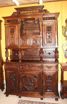 Exquisite French Antique Carved Oak Brittany Buffet / Sideboard...OMG!!!!