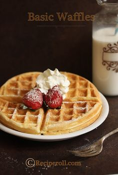 Basic Waffles - this is one of the best recipes I've ever found for waffles. To make them even fluffier, separate the egg yolks and whites and whisk the whites till they're frothy. Add them back into the mixture, and you'll be blown away by how perfect these waffles are.