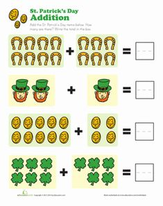 St. Patrick's Day Kindergarten Addition Worksheets: Lucky Addition