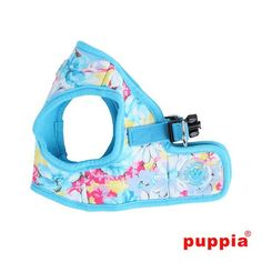 """Puppia """"Spring Garden Floral"""" Choke-Free, Step-in Harness Vest Jacket in Sky Blue Floral"""