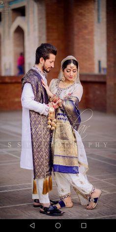 Bride and groom on their nikkah Pakistani Bridal Dresses Online, Pakistani Bridal Wear, Indian Bridal, Indian Wedding Couple, Desi Wedding, Punjabi Wedding, Wedding Couples, Bridal Mehndi Designs, Bridal Shower Rustic