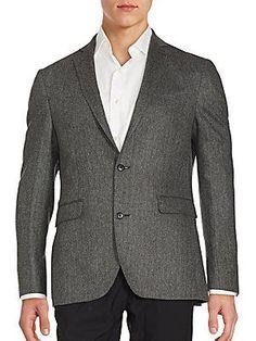 Saks Fifth Avenue Cashmere Two-Button Jacket - Black White - Size