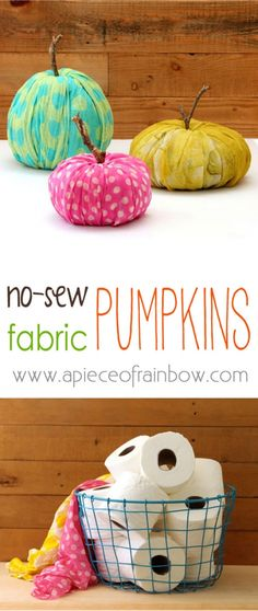 DIY an Easy Peasy instant Fabric-Pumpkin Fall Decoration.....that makes you Happy! -apieceofrainbowblog