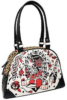 Liquorbrand El Fin Old School Tattoo Flash Leopard Print Black Handbag Purse * Check out this great product.