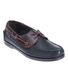 Black & Brown Schooner Leather Boat Shoe - Men