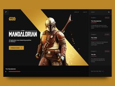 Main promo page of Mandalorian serial concept by Liza Key Creative Poster Design, Design Poster, Responsive Web Design, Game Ui Design, App Design, Flat Design, Web Layout, Layout Design, Website Layout