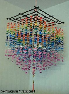 Frame for hanging Origami Paper Crane, Origami And Quilling, Paper Crafts Origami, Diy Origami, Origami Cranes, 1000 Paper Cranes, 1000 Cranes, Kirigami, Origami Mobile
