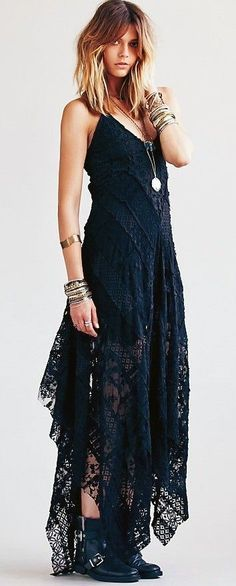 Free People maxi blue boho dress @roressclothes closet ideas #women fashion outfit #clothing style apparel