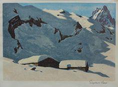 Engelbert Lap Mountain Art, Mountain Landscape, Landscape Paintings, Landscapes, Printmaking, Snow, Mountains, Nature, Woodblock Print