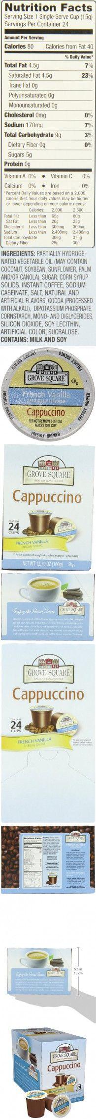 Grove Square Cappuccino, French Vanilla, 24 Count Single Serve Cups Cappuccinos, French Vanilla, Count