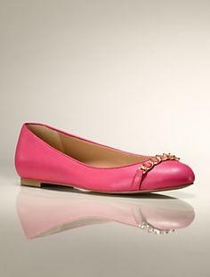 Talbots - Becky Mixed Leather Chain-Strap Ballet Flat | Flats | Medium