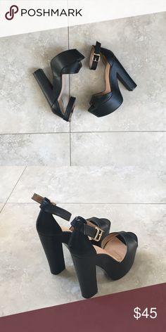 f3e4b7269af Black Platform Heels Black platform heels. Worn once indoors. Soles are  marked 6 as