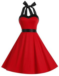 Amazon.com: Dresstells Vintage 1950s Rockabilly Polka Dots Audrey Dress Retro Cocktail Dress Cherry White S: Clothing